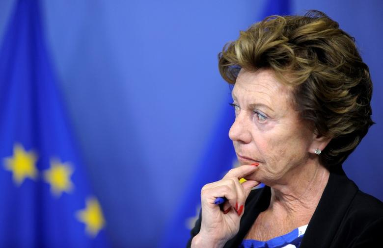 Neelie Kroes attends a news conference on the European Commission in Brussels September 1, 2014.      REUTERS/Laurent Dubrule