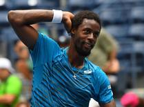 Aug 31, 2016; New York, NY, USA; Gael Monfils of France after beating Jan Satral of the Czech Republic on day three of the 2016 U.S. Open tennis tournament at USTA Billie Jean King National Tennis Center. Mandatory Credit: Robert Deutsch-USA TODAY Sports