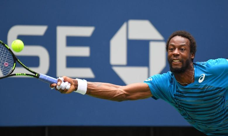 Aug 31, 2016; New York, NY, USA; Gael Monfils of France hits to Jan Satral of the Czech Republic on day three of the 2016 U.S. Open tennis tournament at USTA Billie Jean King National Tennis Center. Robert Deutsch-USA TODAY Sports