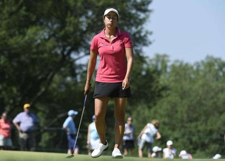 Marina Alex reacts after putting on the ninth hole during the third round of the 2015 U.S. Women's Open at Lancaster Country Club. Mandatory Credit: Kyle Terada-USA TODAY Sports