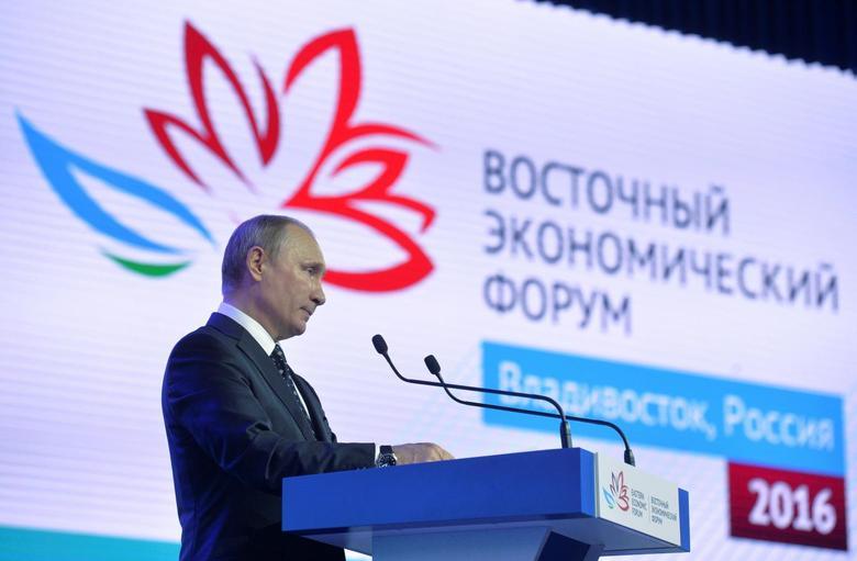 Russian President Vladimir Putin delivers a speech during a session of the Eastern Economic Forum in Vladivostok, Russia, September 3, 2016. Sputnik/Kremlin/Alexei Druzhinin/via REUTERS