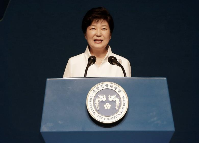 South Korean President Park Geun-hye delivers her speech during a ceremony to celebrate Korean Liberation Day from Japanese colonial rule in 1945, at Seong Cultural Center in Seoul, South Korea, August 15, 2016. REUTERS/Ahn Young-joon/Pool