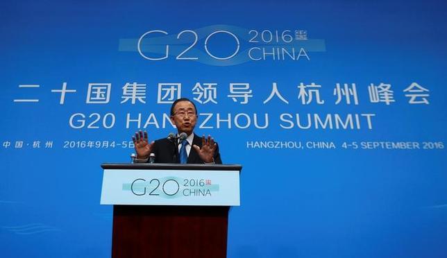 U.N. Secretary General, Ban Ki-moon speaks during a press conference ahead of G20 Summit in Hangzhou, Zhejiang province, China, September 4, 2016. REUTERS/Stringer