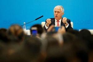 Australian Prime Minister Malcolm Turnbull attends a session during the B20 Summit ahead of G20 Summit, in Hangzhou, Zhejiang province, China September 4, 2016. REUTERS/Aly Song