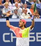 Sept 4, 2016; New York, NY, USA; Lucas Pouille of France winning a game late in the fifth set against Rafael Nadal of Spain (not pictured) on day seven of the 2016 U.S. Open tennis tournament at USTA Billie Jean King National Tennis Center. Mandatory Credit: Robert Deutsch-USA TODAY Sports