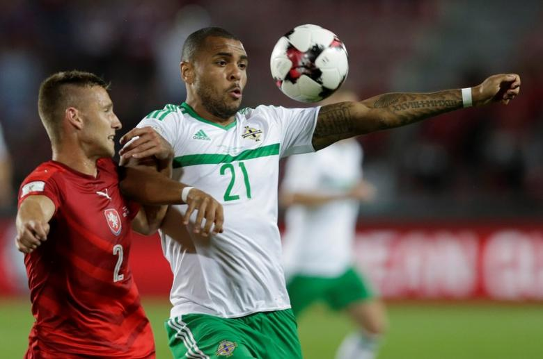 Football Soccer - Czech Republic v Northern Ireland - 2018 World Cup Qualifying European Zone - Group C - Generali Arena, Prague, Czech Republic - 4/9/16Northern Ireland's Josh Magennis in action with Czech Republic's Pavel Kaderabek Action Images via Reuters / David W CernyLivepic