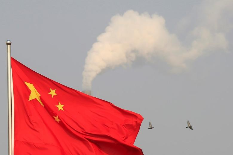 Birds fly past the chimney of a thermal power plant as China's national flag flutters in a suburb in Shanghai January 9, 2015. REUTERS/Aly Song/File Photo