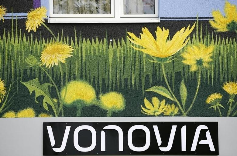 The logo of German real estate company Vonovia SE, a member of the German DAX-30 stock market index is seen at a Vonovia building in Essen, western Germany May 10, 2016.    REUTERS/Wolfgang Rattay