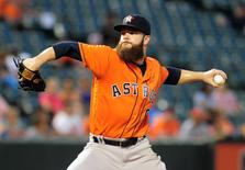 Aug 21, 2016; Baltimore, MD, USA; Houston Astros pitcher Dallas Keuchel (60) throws a pitch during the game against the Baltimore Orioles at Oriole Park at Camden Yards. Mandatory Credit: Evan Habeeb-USA TODAY Sports