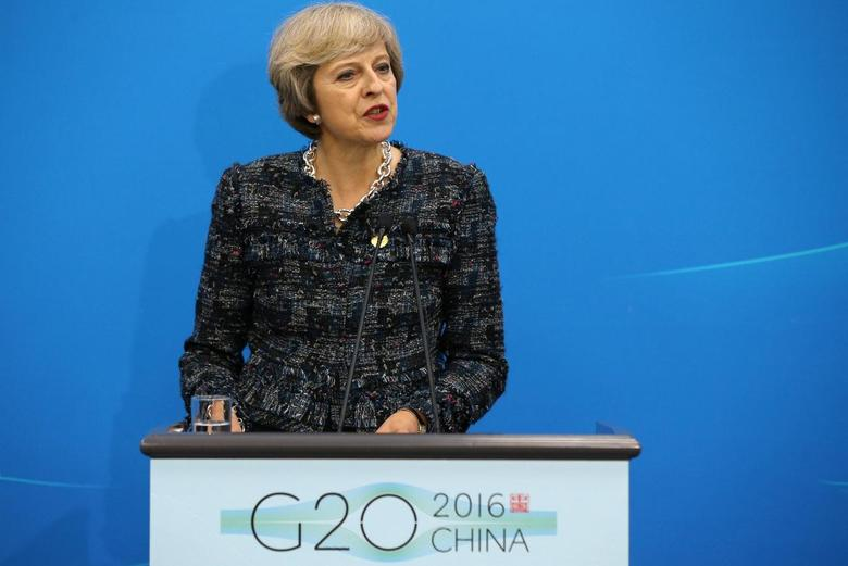 British Prime Minister Theresa May speaks at a news conference after the closing of G20 Summit in Hangzhou, Zhejiang Province, China, September 5, 2016. REUTERS/Damir Sagolj