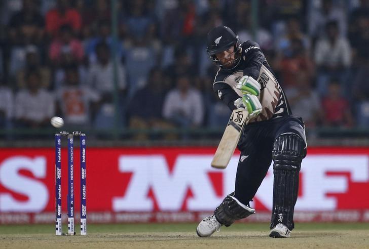 Cricket - England v New Zealand - World Twenty20 cricket tournament semi-final - New Delhi, India - 30/03/2016. New Zealand's Martin Guptill plays a shot.  REUTERS/Adnan Abidi/Files