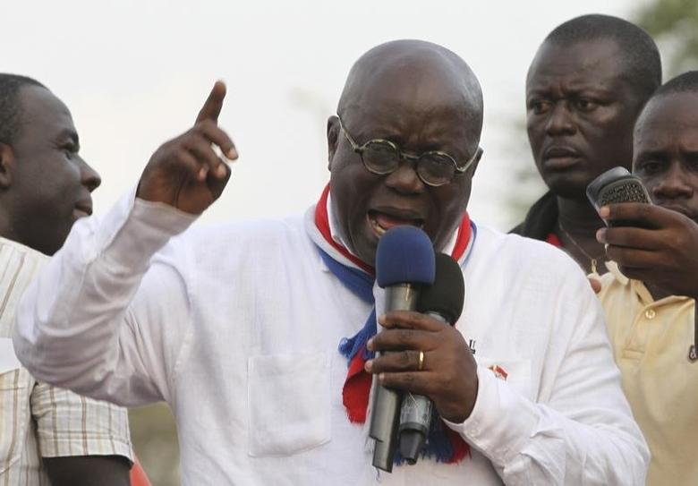 New Patriotic Party (NPP) leader Nana Akufo-Addo speaks during a meeting to contest the presidential election results, at Kwame Nkrumah Circle in Accra December 11, 2012. REUTERS/Luc Gnago/Files