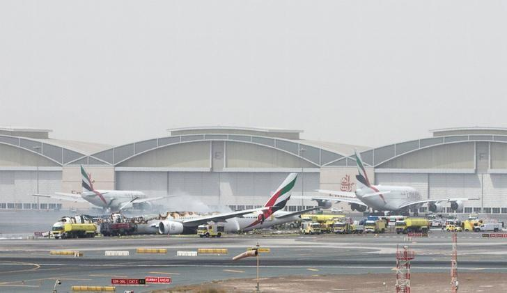 An Emirates Airline flight is seen after it crash-landed at Dubai International Airport, the UAE August 3, 2016. REUTERS/Stringer