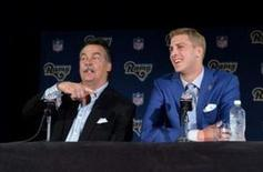 Apr 29, 2016; Los Angeles, CA, USA; Los Angeles Rams coach Jeff Fisher (left) and quarterback Jared Goff at press conference at Courtyard L.A. Live to introduce Goff as the No. 1 pick in the 2016 NFL Draft. Mandatory Credit: Kirby Lee-USA TODAY Sports