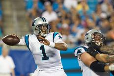 Aug 26, 2016; Charlotte, NC, USA;  Carolina Panthers quarterback Cam Newton (1) looks to pass the ball during the second quarter against the New England Patriots at Bank of America Stadium. Mandatory Credit: Jeremy Brevard-USA TODAY Sports