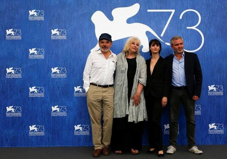 (R to L) Director Stephane Brize poses with actors Judith Chemla, Yolande Moreau and Jean Pierre Darroussin as they attend the photocall for the movie ''Une Vie'' at the 73rd Venice Film Festival in Venice, Italy September 6, 2016. REUTERS/Alessandro Bianchi