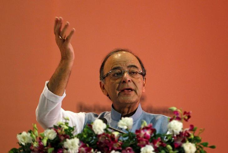 India's Finance Minister Arun Jaitley gestures as he addresses a gathering during a seminar on 'Income Declaration Scheme-2016' in Ahmedabad, India, July 10, 2016. REUTERS/Amit Dave/Files