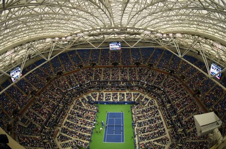 Sep 6, 2016; New York, NY, USA; A general view as the roof above Arthur Ashe Stadium is closed as rain falls in the match between Gael Monfils of France and Lucas Pouille of France on day nine of the 2016 U.S. Open tennis tournament at USTA Billie Jean King National Tennis Center. Robert Deutsch-USA TODAY Sports