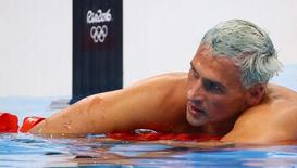 2016 Rio Olympics - Swimming - Final - Men's 200m Individual Medley Final - Olympic Aquatics Stadium - Rio de Janeiro, Brazil - 11/08/2016. Ryan Lochte (USA) of USA reacts. REUTERS/David Gray/File Photo