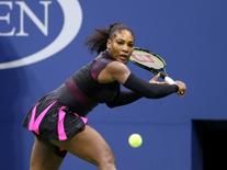 Sep 7, 2016; New York, NY, USA; Serena Williams of the United States hits a shot to Simona Halep of Romania on day ten of the 2016 U.S. Open tennis tournament at USTA Billie Jean King National Tennis Center. Mandatory Credit: Jerry Lai-USA TODAY Sports