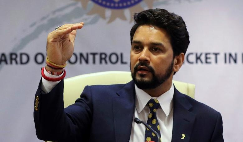 Anurag Thakur, president of Board of Control for Cricket in India (BCCI), gestures during a news conference in Mumbai, India, May 22, 2016. REUTERS/Shailesh Andrade/Files