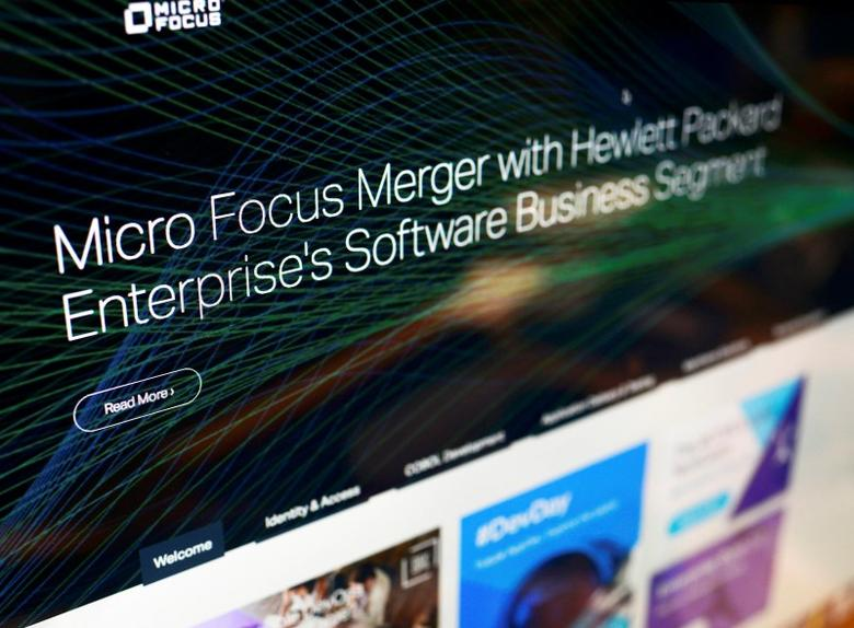A message on the home page of Micro Focus' website announces that Hewlett Packard Enterprise Co (HPE) will spin off and merge its non-core software assets with Britain's Micro Focus International Plc in a deal worth $8.8 billion, in Britain, September 8, 2016. REUTERS/Dylan Martinez