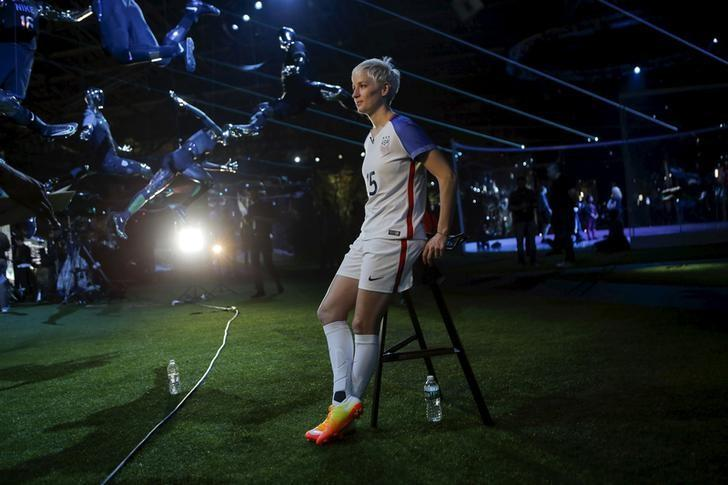 U.S. women's soccer team midfielder Megan Rapinoe speaks to the media during a Nike unveiling event in New York, March 17, 2016. REUTERS/Eduardo Munoz