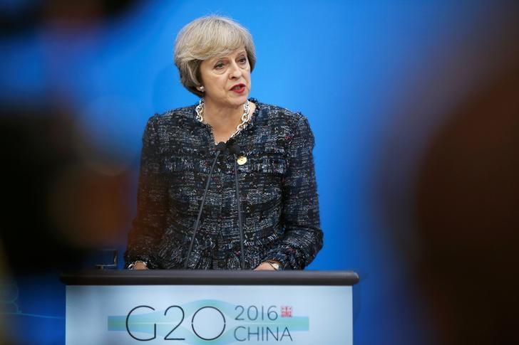 British Prime Minister Theresa May addresses reporters after the closing of G20 Summit in Hangzhou, Zhejiang Province, China, September 5, 2016. REUTERS/Damir Sagolj