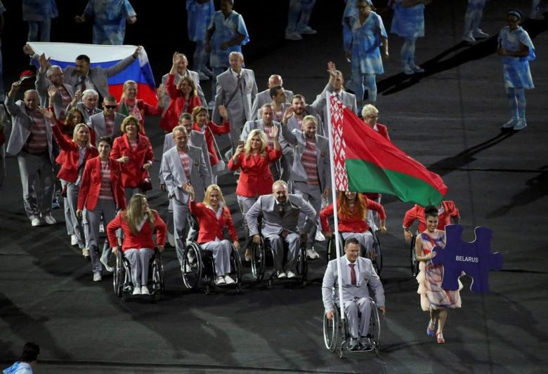 2016 Rio Paralympics - Opening ceremony - Maracana - Rio de Janeiro, Brazil - 07/09/2016. Athletes from Belarus take part in the opening ceremony.  REUTERS/Sergio Moraes