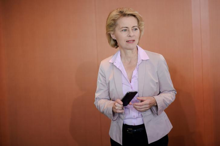 German Defence Minister Ursula von der Leyen arrives for a cabinet meeting at the Chancellery in Berlin, Germany August 24, 2016. REUTERS/Stefanie Loos