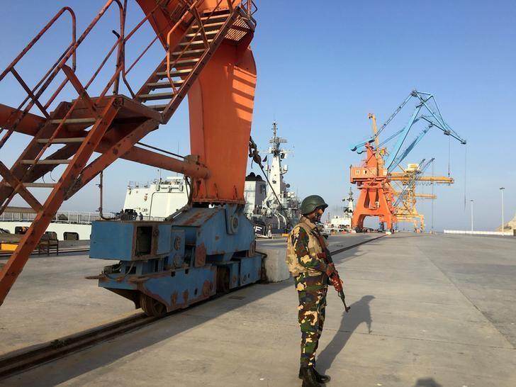 A member of Pakistan Navy is seen at the Gwadar port in Pakistan's Balochistan Province April 12, 2016.  REUTERS/Kay Johnson/Files