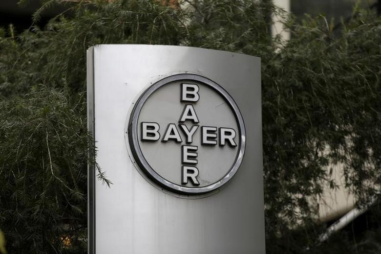 The corporate logo of Bayer is seen at the headquarters building in Caracas, Venezuela March 1, 2016. REUTERS/Marco Bello/File Photo