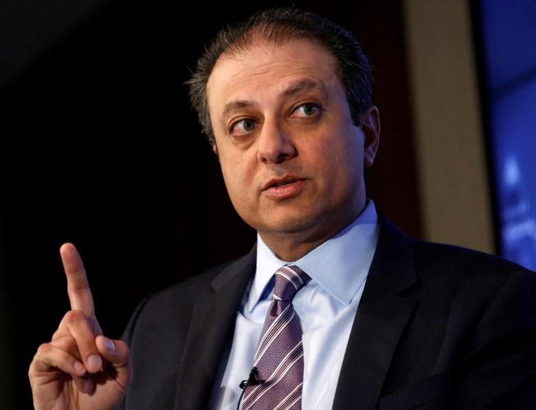 U.S. Attorney for the Southern District of New York Preet Bharara speaks during a Reuters Newsmaker event in New York City, U.S., July 13, 2016.  REUTERS/Brendan McDermid