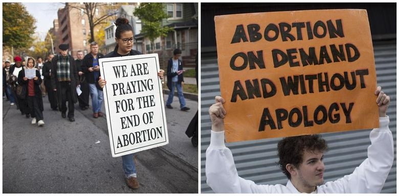 A combination photo shows an anti-abortion protest march (L) and a pro-abortion rights protester holds a sign as he confronts an anti-abortion demonstration in Queens, New York, on October 20, 2012. REUTERS/Andrew Kelly/File Photos