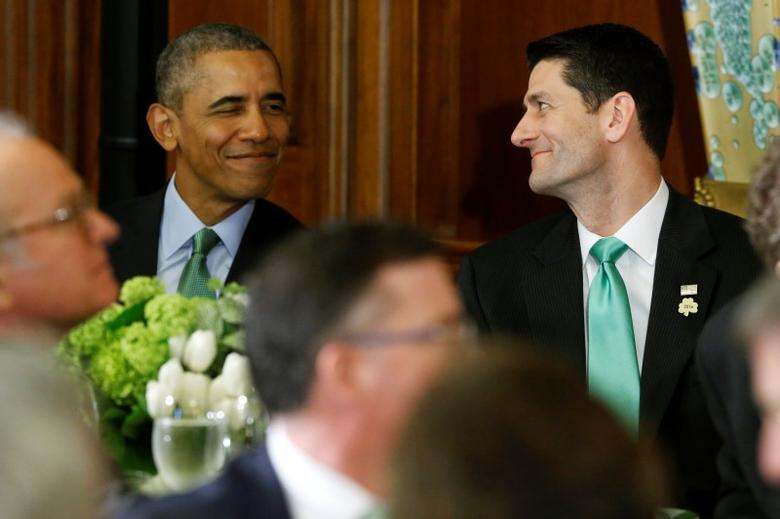 U.S. President Barack Obama (L) and House Speaker Paul Ryan sit together at the annual Friends of Ireland Luncheon at the U.S. Capitol in Washington March 15, 2016. REUTERS/Jonathan Ernst