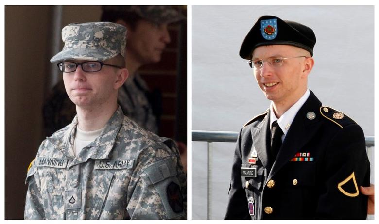 A combination photo shows U.S. soldier Chelsea Manning, who was born male Bradley Manning but identifies as a woman, imprisoned for handing over classified files to pro-transparency site WikiLeaks, being escorted by military police at Fort Meade, Maryland, U.S. on December 21, 2011 (L) and on June 6, 2012 (R) respectively. REUTERS/File Photos
