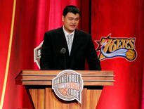 Sep 09, 2016; Springfield, MA, USA; Yao Ming speaks during the 2016 Naismith Memorial Basketball Hall of Fame Enshrinement Ceremony at Springfield Symphony Hall. Mandatory Credit: David Butler II-USA TODAY Sports