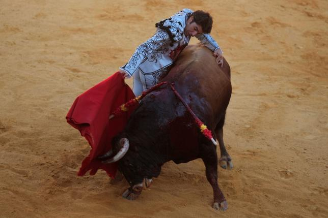Spanish bullfighter Cayetano Rivera performs a pass to a bull during a ''Corrida Goyesca'' bullfight in Ronda, southern Spain September 10, 2016. REUTERS/Jon Nazca