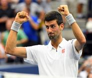 Sept 9, 2016; New York, NY, USA;   Novak Djokovic of Serbia after beating Gael Monfils of France on day twelve of the 2016 U.S. Open tennis tournament at USTA Billie Jean King National Tennis Center. Mandatory Credit: Robert Deutsch-USA TODAY Sports