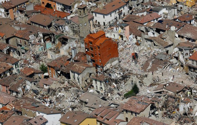 A general view after earthquake that levelled the town in Amatrice, central Italy, September 1, 2016.  REUTERS/Stefano Rellandini