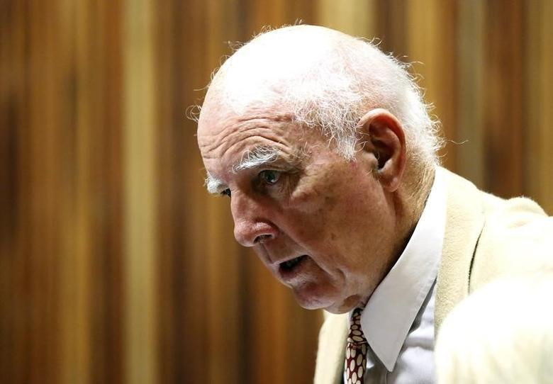 Former Grand Slam doubles champion Bob Hewitt look on ahead of court proceedings at the South Gauteng High Court in Johannesburg February 10, 2015. REUTERS/Siphiwe Sibeko/File Photo
