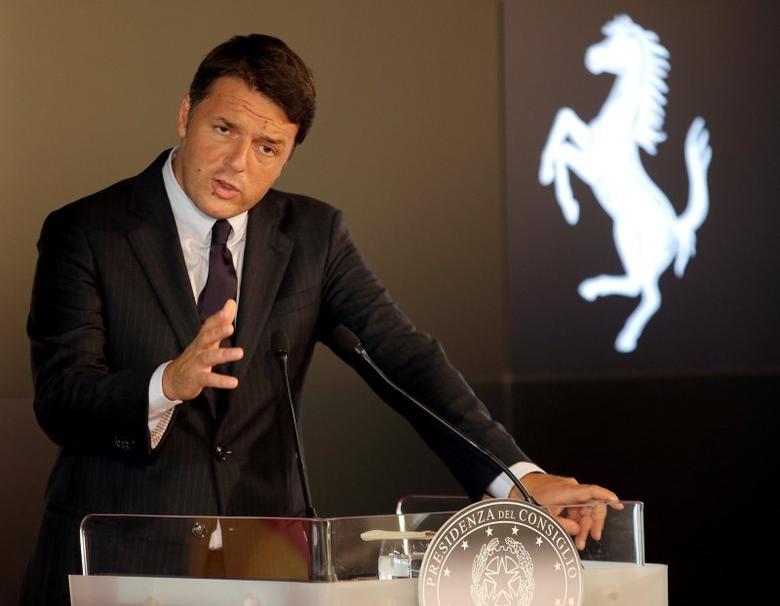 Italian Prime Minister Matteo Renzi speaks at media conference during a regular Italo-German summit in Ferrari's hometown Maranello, Italy August 31, 2016.  REUTERS/Max Rossi