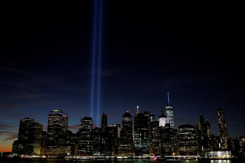 The Tribute in Light shines on the 15th anniversary of the 9/11 attacks in Manhattan, New York, U.S., September 11, 2016.  REUTERS/Andrew Kelly