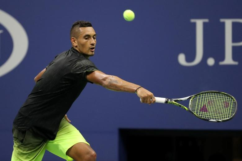 Sep 3, 2016; New York, NY, USA; Nick Kyrgios of Australia hits a backhand against Ilya Marchenko of Ukraine (not pictured) on day six of the 2016 U.S. Open tennis tournament at USTA Billie Jean King National Tennis Center. Mandatory Credit: Geoff Burke-USA TODAY Sports