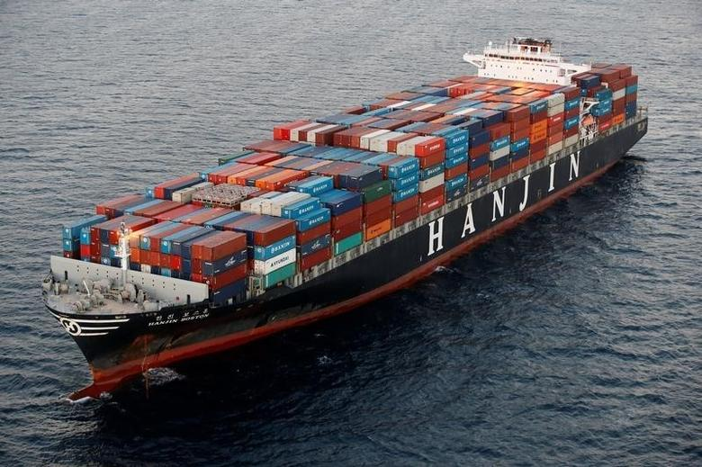 2016年9月8日,美国加州长滩港外韩进旗下的货轮。REUTERS/Lucy Nicholson
