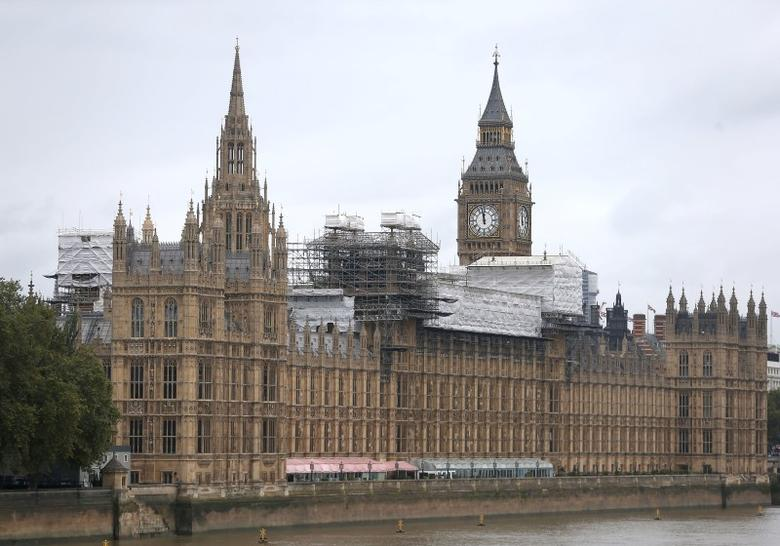 Scaffolding surrounds part of the Houses of Parliament, in Westminster in London, Britain September 10, 2016. REUTERS/Neil Hall
