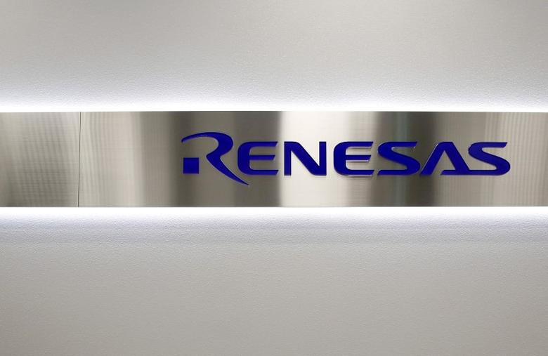 The logo of Renesas Electronics Corp is pictured at the company's headquarters in Tokyo, Japan, in this December 21, 2015 file photo.  REUTERS/Toru Hanai/File Photo