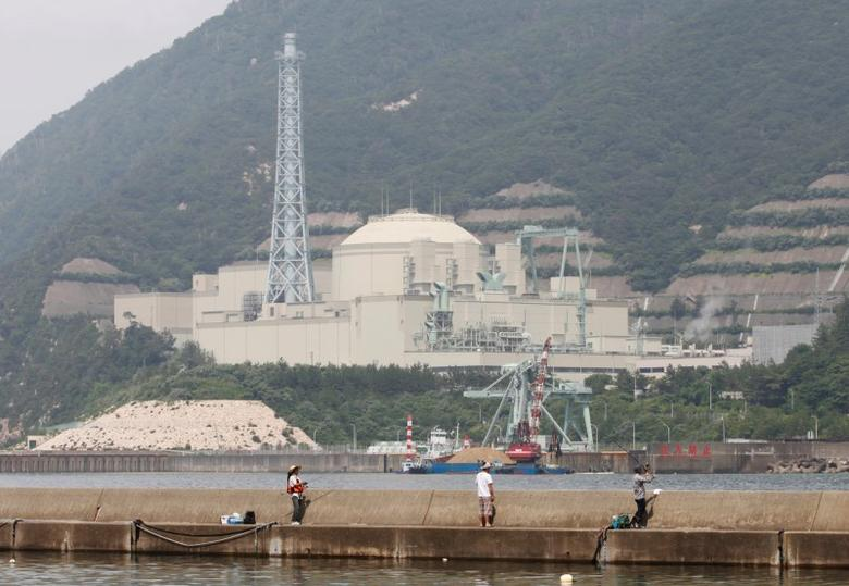 People on vacation fish as the Japan Atomic Energy Agency's Monju nuclear power plant, a sodium-cooled fast reactor, is pictured in the background in Tsuruga, Fukui prefecture, July 2, 2011. REUTERS/Issei Kato/Files