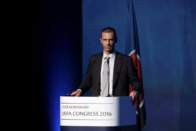President of the Football Association of Slovenia and candidate for the UEFA presidency Aleksander Ceferin delivers a speech before the election for the new UEFA President in Athens, Greece September 14, 2016. REUTERS/Alkis Konstantinidis