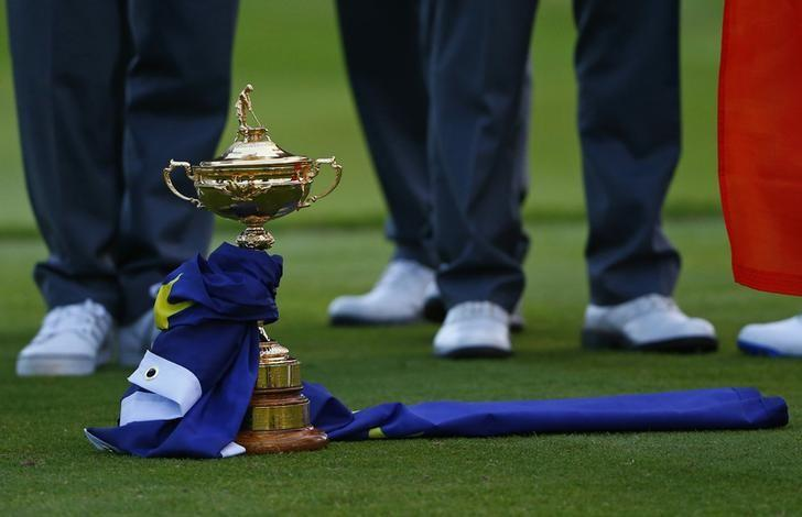 The Ryder Cup sits on the grass at the driving range following the closing ceremony of the 40th Ryder Cup at Gleneagles in Scotland September 28, 2014.  REUTERS/Eddie Keogh/Files